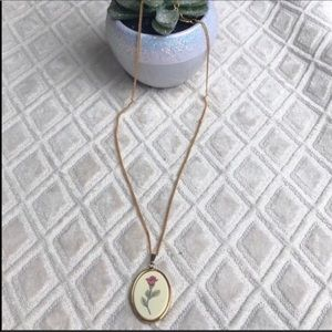 Delicate Hand painted Barlow Rose Flower Necklace